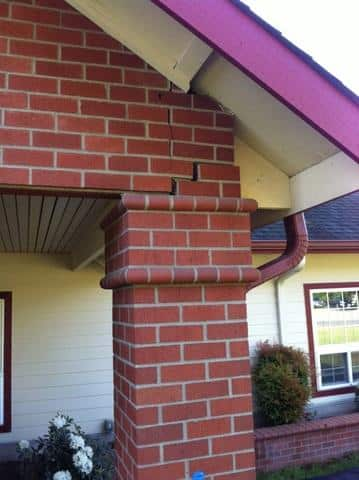 Column mortar joints separated near roof.