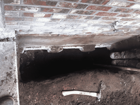 Our initial inspection of the foundation.
