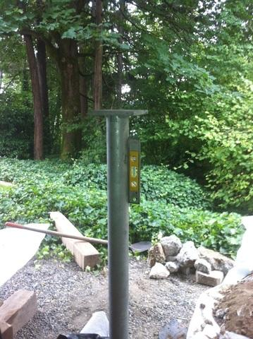 This is one of the piers we installed to give this deck proper support.