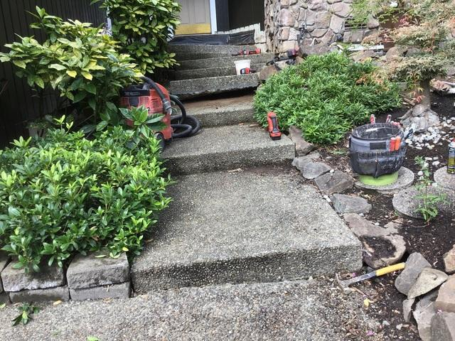 Sinking and sloping steps before Poly Concrete Leveling