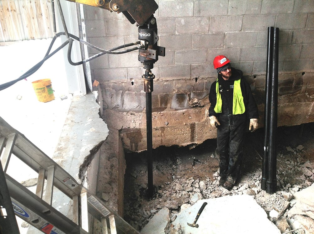 commercial repair with helical piers